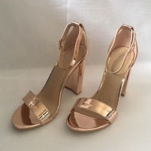 New Womens Sexy Rose Gold Sandals with Heel